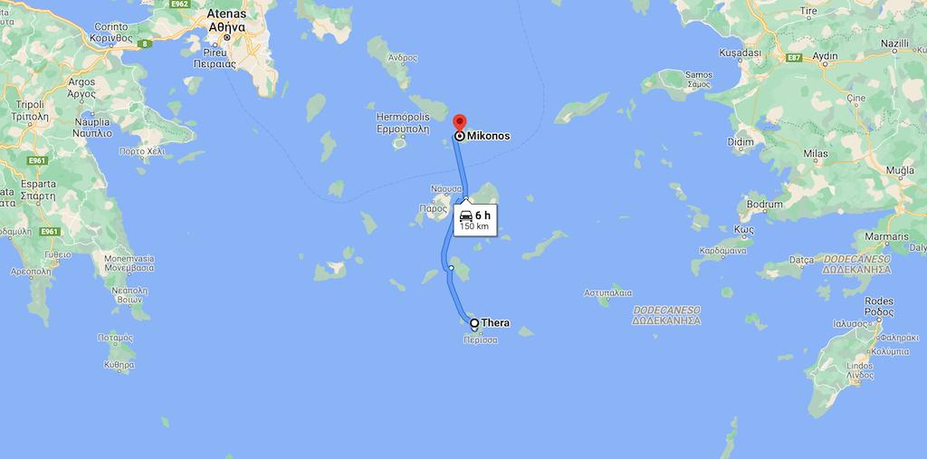 distancia entre Mykonos e Santorini